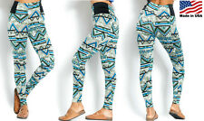 NEW Women's Sage AZTEC Tribal Printed Leggings Thick Fabric Elastic Band SML