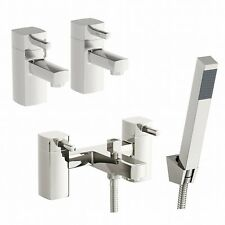 Modern Bath Filler Tap with Shower Head + Hot & Cold Twin Basin Tap Pack DESIRE