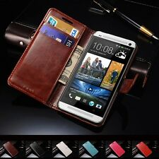 New Glossy PU Leather Magnetic Flip Wallet Case Cover Card Holder for HTC One M7