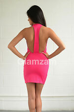new womens ladies sexy mini bodycon backless celeb party pink low back dress
