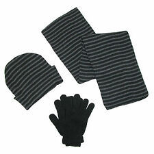 New CTM Mens Knit Striped Hat Gloves and Scarf Winter Set