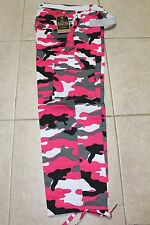NWT mens 32 to 44 BDU white/pink camouflage cargo pants
