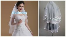 New 2T LACE & sequins bead Wedding Veil Elbow short  Bridal Veil With Comb