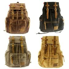 Vintage Canvas Leather Travel Backpack Rucksack Satchel Hiking School Bag Unisex