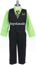 New Boy's Black 4 Piece PinStripe Suit Vest Lime Green Dress Shirt All Sizes