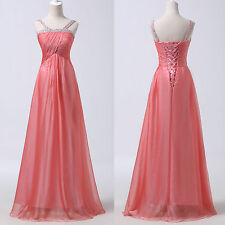2014 STOCK Chiffon Long Evening Bridesmaid Wedding Gown Prom Formal Party Dress