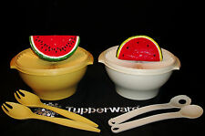 Tupperware huge 17cup Servalier Salad Bowl & Serving Tongs GOLD or ALMOND Choice