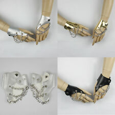 PUNK FINGERLESS FAUX LEATHER CHAIN GLOVES #LGV041