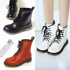 Women Girl Goth Punk Mid Calf Ankle Boots Lace Up Half Martin Combat Flat Shoes