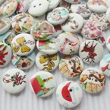 10/50/100/500pcs Santa Christmas Decoration Wood Buttons 20mm Sewing Mix Lots