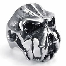 Vintage Stainless Steel Gothic Skull Biker Men's Ring , Color Silver Black R642