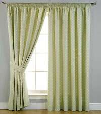 Thermal Self Lined Blackout Printed Dot Pencil Pleat Ready Made Curtain Sage