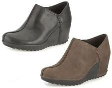 ESSENTIAL CAKE- LADIES CLARKS BROWN LEATHER SLIP ON CASUAL HIGH HEEL WEDGE SHOES