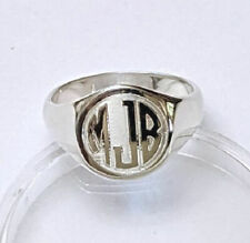 Three Letter Circle Monogram Engraved Signet Ring, Sterling Silver, Size 6, 7, 8