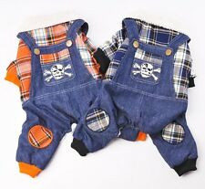 Skull Jeans Overalls Jumpsuit Plaid Coat Sweater Pet Small Boy Girl Dog Clothes