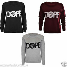 LADIES WOMEN'S DOPE DIAMOND SLOGAN SWEATSHIRT HOODIES WARM JUMPER TOP T-SHIRTS