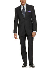 Calvin Klein Slim Fit Black Striped Two Button Wool Suit