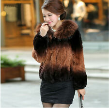 100% Real Genuine Rex Rabbit Fur+Raccoon Collar Ladies Women Coat Jacket Vintage