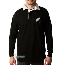 LONG SLEEVE COTTON RUGBY SHIRT - NEW ZEALAND BADGE DESIGN - SIZE OPTIONS!