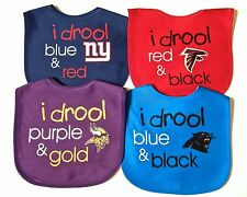 NFL I Drool INFANT BABY BIBS~Polyester/Cotton~NWT~Wincraft-Velcro Closure