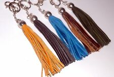 """BAUBLE...Leather keychain with tassels and metal """"Jar"""" bauble,  Handmade"""