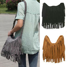Girl Vogue Fringe Tassel Suede Shoulder Messenger Cross Body Satchel Bag Handbag