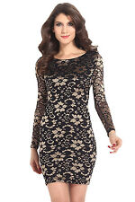 vestidos de fiesta LC21024 Classical Beauty V Back Two Tone Lace Vintage Dress