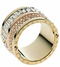 MICHAEL KORS Brilliance Pave Stone Barrel Rose Yellow  Gold Crystal Ring 6 7 8