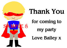 Personalised SUPERHERO Thank You Stickers for party bags etc Ref 04 - 15