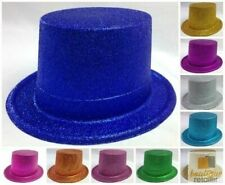 12x GLITTER TOP HAT Fancy Party Plastic Costume Tall Cap Fun Dress Up BULK New