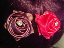 Crystal Flower Hair CLIP Brooch crystal centre WEDDING PROM EVE PINK LILAC X2