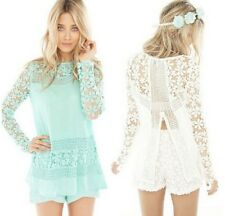 New Vintage Crochet Lace Chiffon Long Sleeves Tops Blouses Shirts For Lady Women