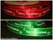"Merry Christmas Printed 15mm 5/8"" wide Red Green Satin Ribbon Choice of Length"