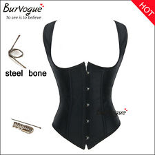 Body Shapers Lace Up Satin Steel Boned Underbust Waist Cincher Corset and basque