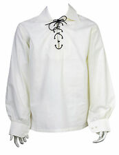 Scottish Cream Jacobite Ghillie Kilt Shirt Leather Cord Sizes S,M,L,XL,XXL