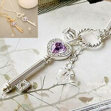 Hot Vintage Silver/Gold Color Heart Key Pendant Sweater Long Chain Necklace Gift