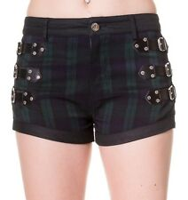 Banned Clothing Green Black Tartan Shorts Buckles Goth Punk 8 10 12 14 GREEN