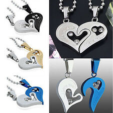 His&Hers Stainless Steel Love Heart Men Women Couple Pendant Necklace Xmas gift