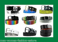 3-Row Metal Pyramid Studded Skulls & Crossbones Leather Belt  Punk Rock Goth Emo