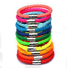 1 pcs Unisex Men's Genuine Braided Leather Steel Magnetic clasp Bracelet 8colors