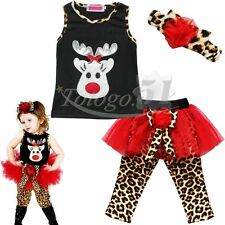 Baby Girls Christmas Deer Outfits Headband + Top + TuTu Dress Leopard Leggings