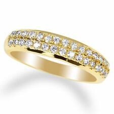 Ladies 14K Yellow Gold Plated Round Clear CZ Two Lines Band Ring Size 4-10