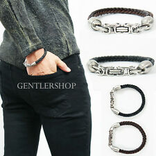 Mens Steel Magnetic Clip Twisted Leather Cuff Bangle Bracelet 104, GENTLERSHOP