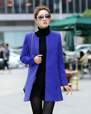 New Korean Womens Outwear Winter Wool Jacket Overcoat Blend Long Solid Coat Blue