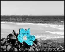 Maine Rose in Teal Wall Art Interior Home Decor Ocean Sea Picture .a