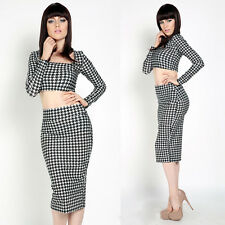 New Lady Sexy Two Piece Bodycon Crop Top Pack Hip Skirt Set Clubwear Party Dress