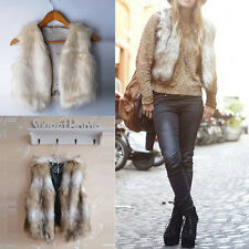 Women Winter Short Vest Sleeveless Faux Fur Jacket Waistcoat Coat Outwear