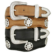 New Men's Card Suits Poker Hand Concho Leather Cowboy Belt Black or Brown
