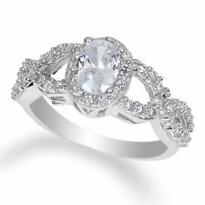 Ladies 14K  White Gold Solid Ring with Accents CZ Clear Round