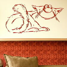 LAZY TIRED OLD CARTOON CAT WALL GRAPHIC TRANSFER kitchen graphic picture CA19